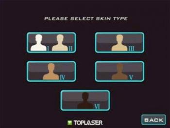 Интерфейс выбора фототипа кожи